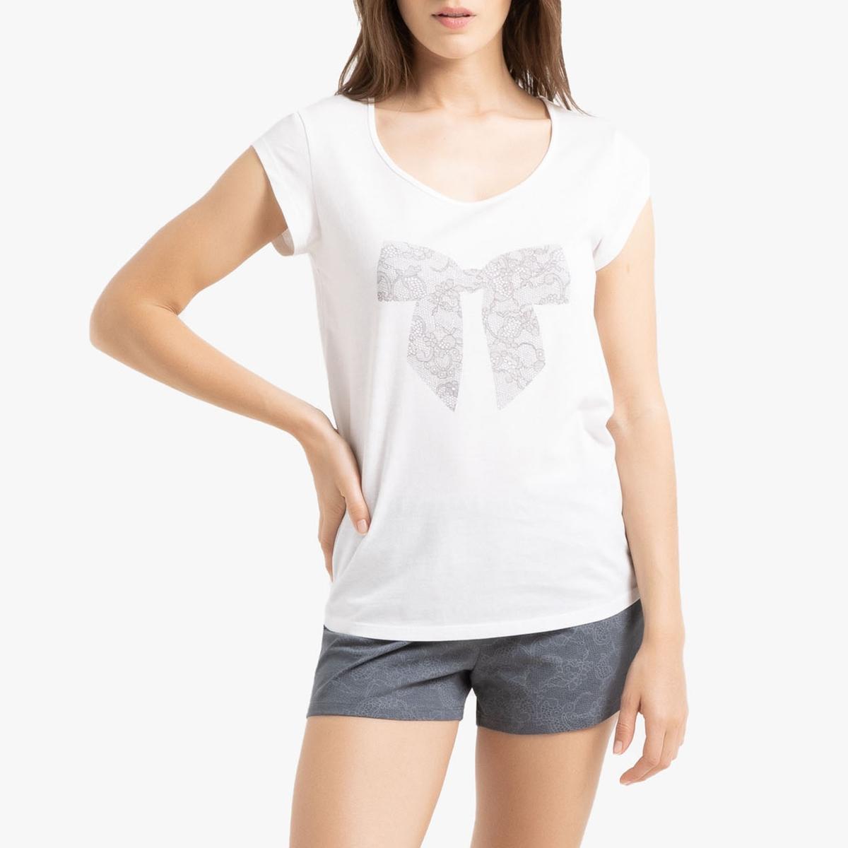 Пижама La Redoute С шортами короткими рукавами и рисунком 34/36 (FR) - 40/42 (RUS) белый пижама la redoute с принтом короткая 34 36 fr 40 42 rus белый