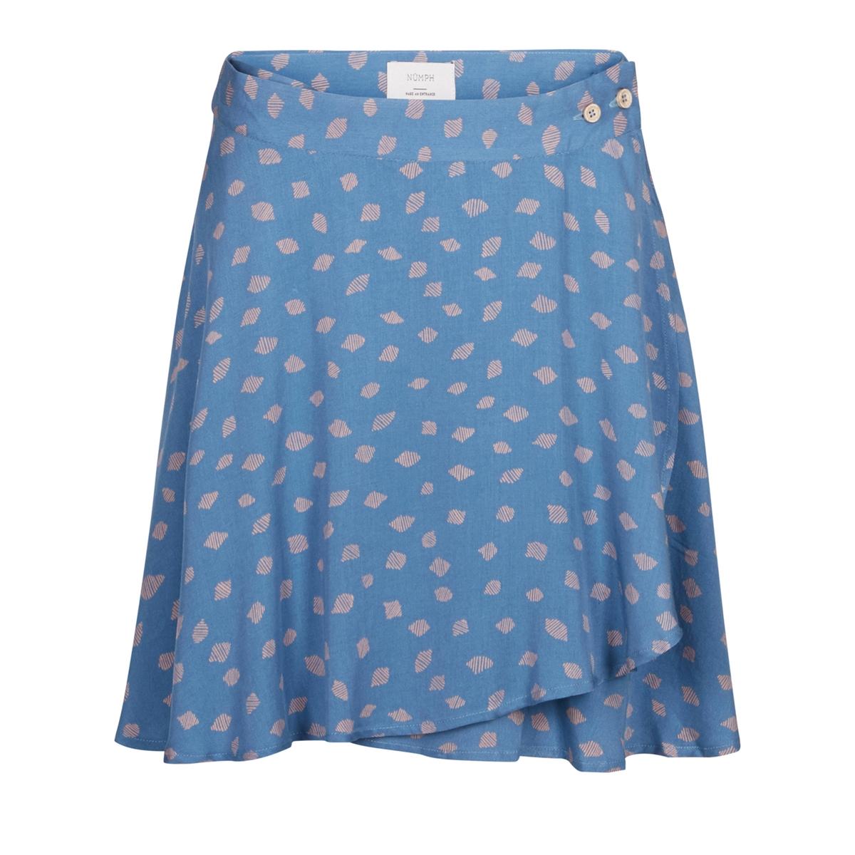 Юбка с запахом и принтомМатериал : 100% вискоза       Рисунок : принт      Длина юбки : короткое<br><br>Цвет: синий/ розовый<br>Размер: 36 (FR) - 42 (RUS)