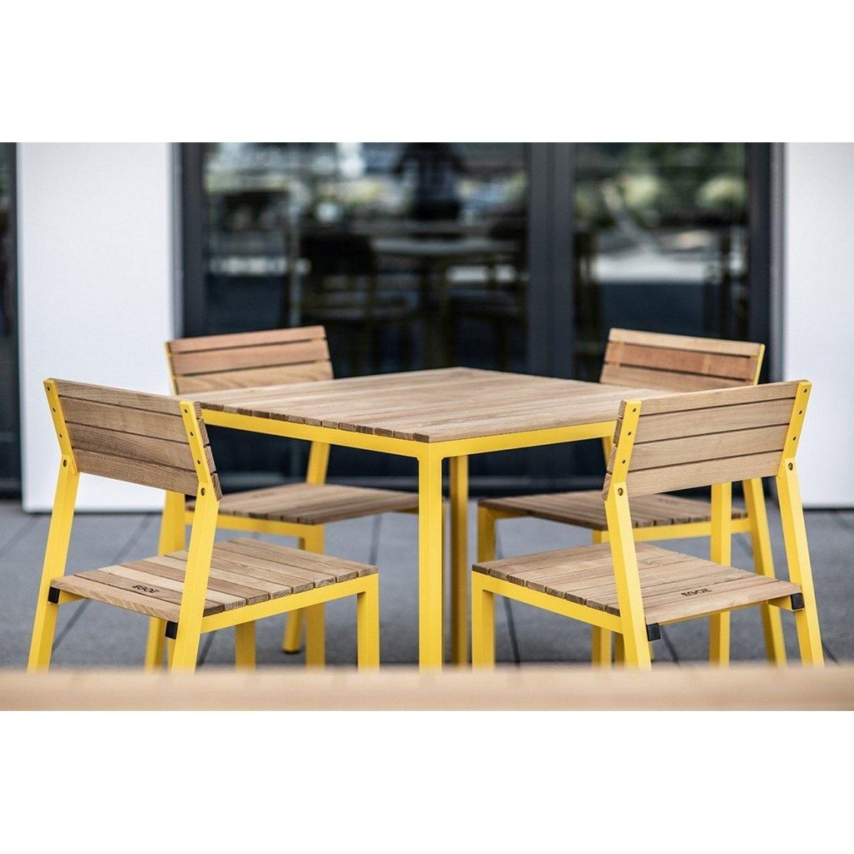 Ensemble de jardin CORA table carrée et 4 chaises alu jaune et acacia EGOE