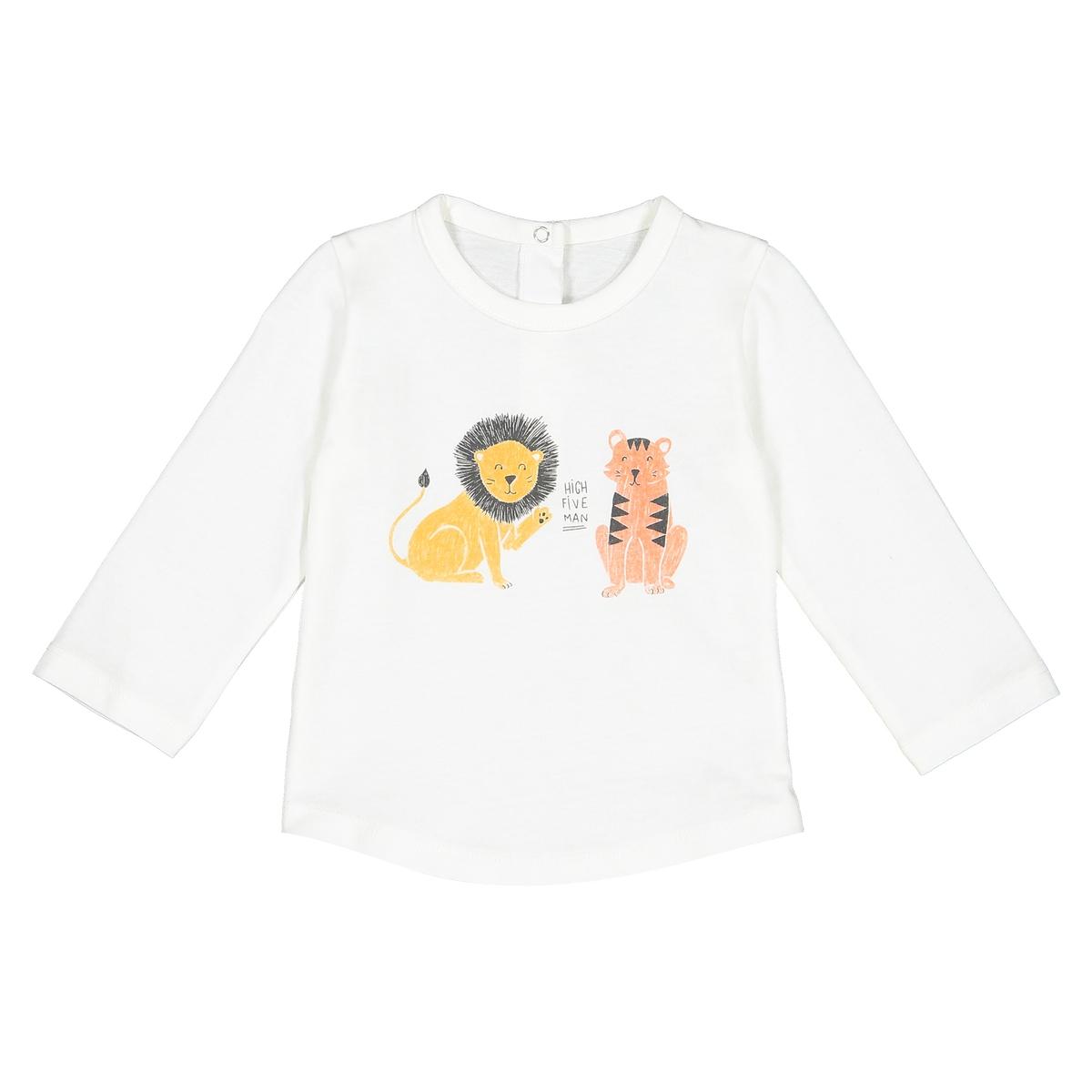 Футболка La Redoute С рисунком и длинными рукавами мес - года 2 года - 86 см бежевый футболки la redoute с длинными рукавами мес года 2 года 86 см разноцветный