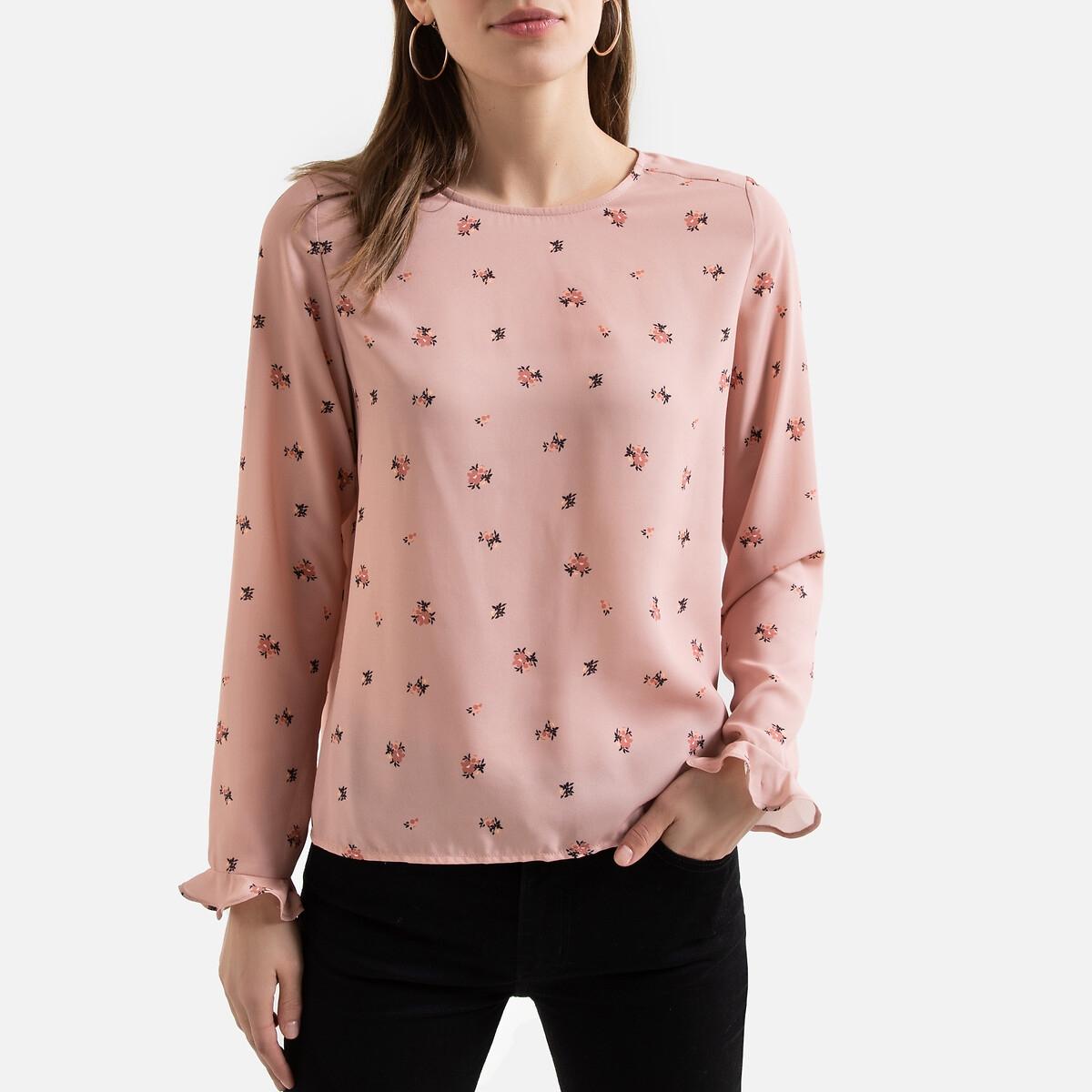 Blusa estampada con cuello redondo y manga larga
