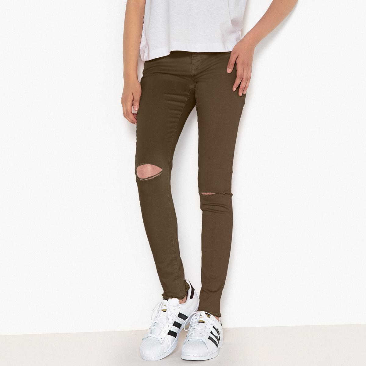 Брюки скинни с рваным эффектом, 10-16 лет джинсы скинни с вышивкой 3 12 лет