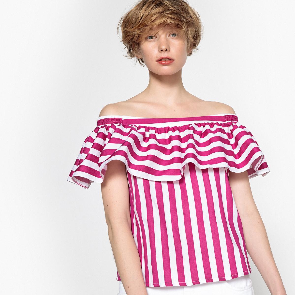 Блузка в полоску с короткими рукавами блузка в полоску marice