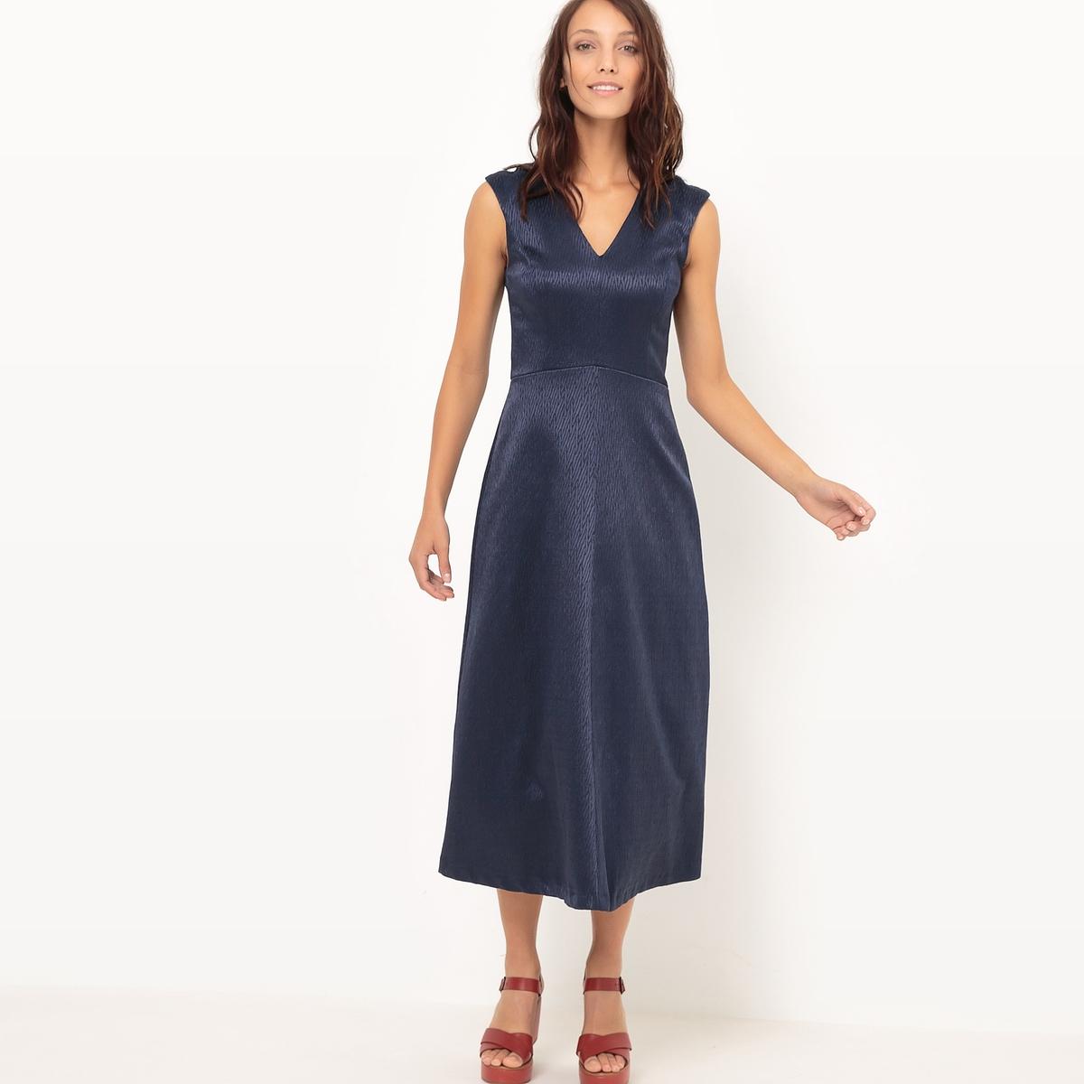 Платье расклешенное, однотонноеМатериал : 69% хлопка, 3% эластана, 28% полиэстера       Длина рукава : без рукавов       Форма воротника : V-образный вырез      Покрой платья : расклешенное платье      Рисунок : однотонная модель        Длина платья : 120 см      Стирка : машинная стирка при 30 °С      Уход : использование растворителей и отбеливание запрещены      Машинная сушка : запрещена      Глажка : при умеренной температуре<br><br>Цвет: синий морской,слоновая кость<br>Размер: 48 (FR) - 54 (RUS).42 (FR) - 48 (RUS).46 (FR) - 52 (RUS).44 (FR) - 50 (RUS).42 (FR) - 48 (RUS).40 (FR) - 46 (RUS)