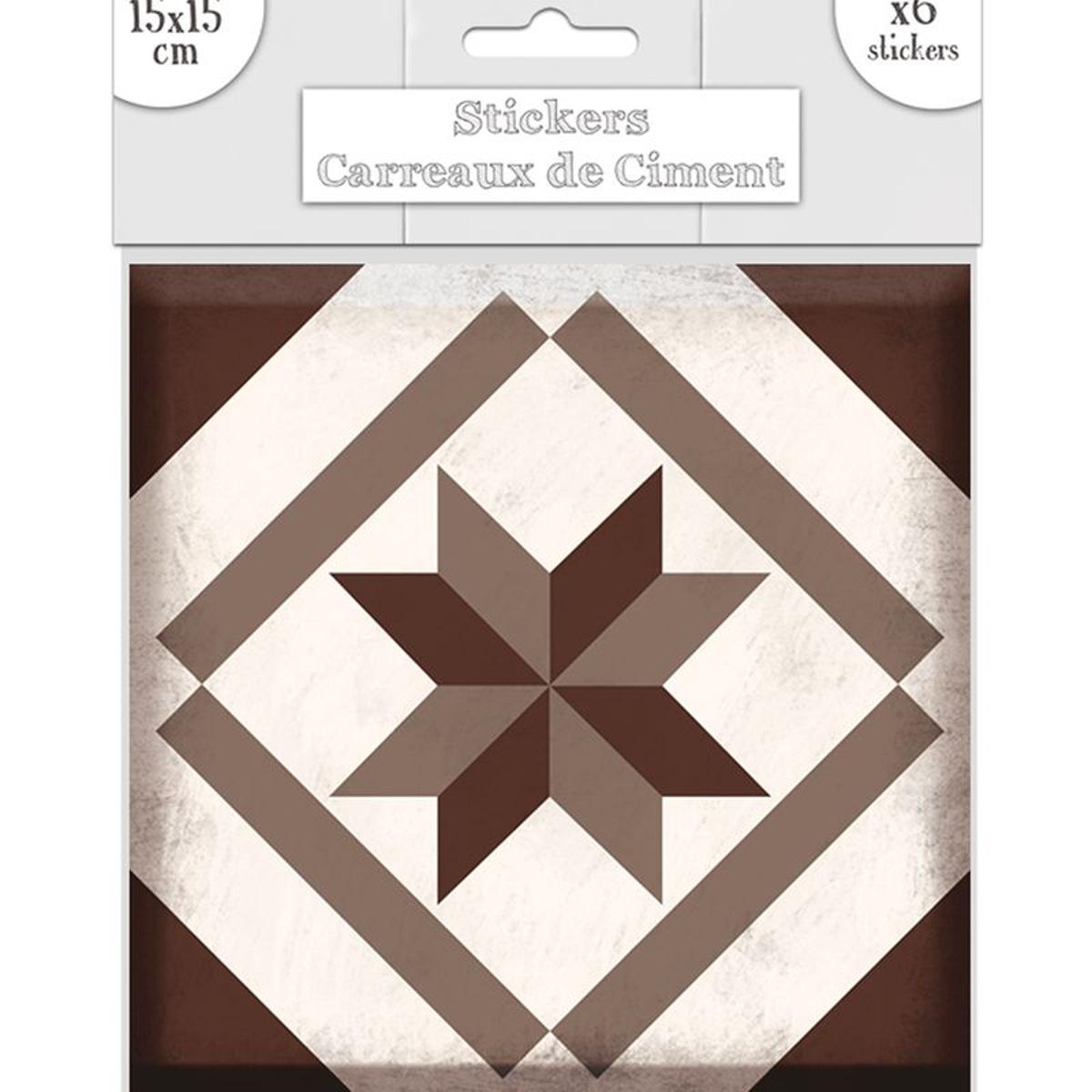 6 stickers carreaux de ciment gris et marron 15 x 15 cm