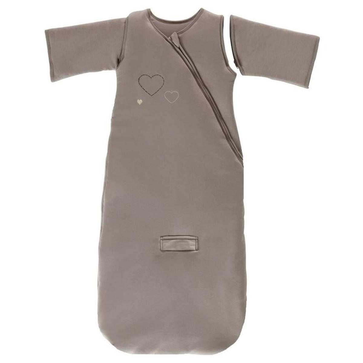 Gigoteuse manches jersey coeur coton bio 70 cm chocolat