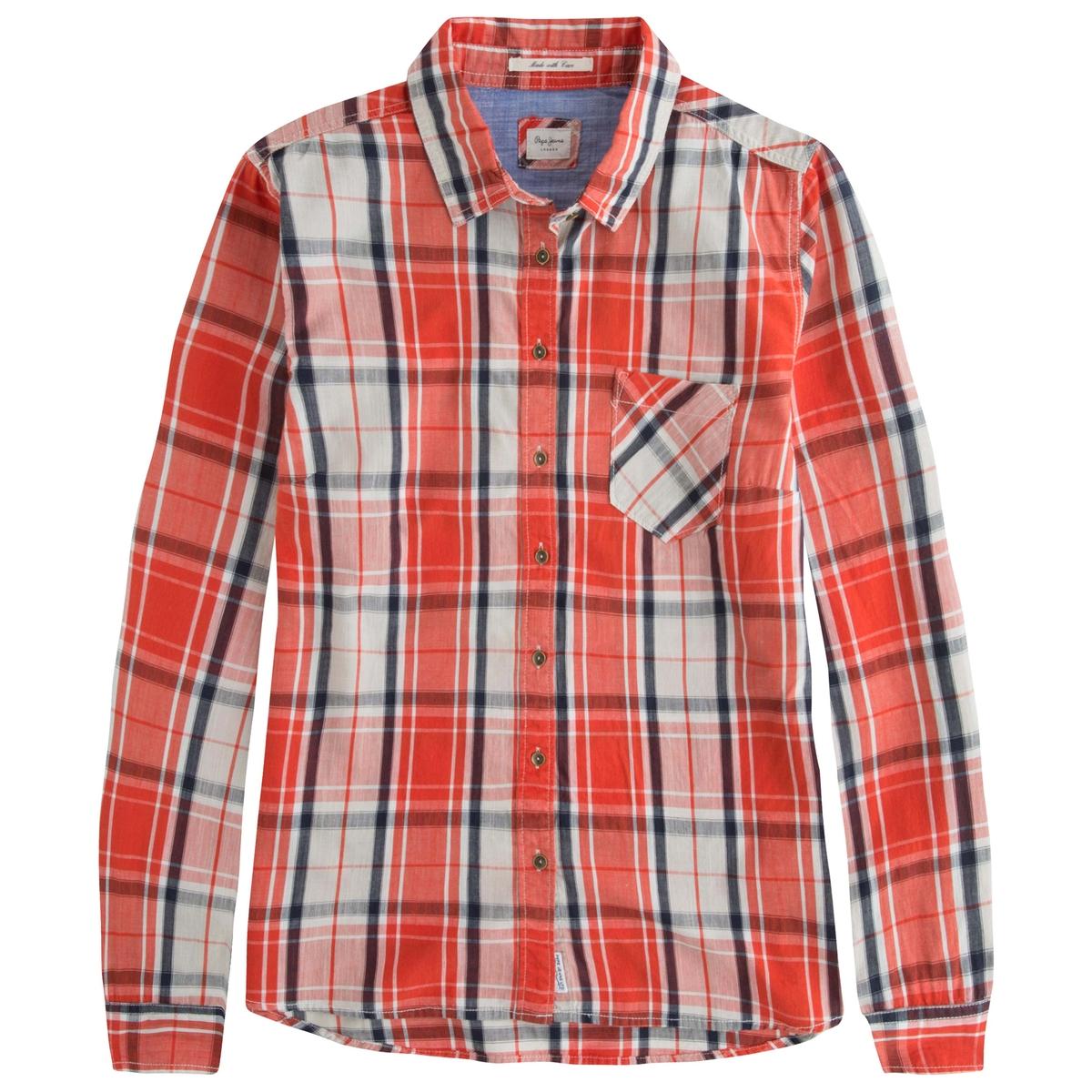Рубашка в клетку с карманом MALENEСостав и описаниеМарка: PEPE JEANS.Модель: MALENE.Материалы: 74% хлопка, 24% полиамида, 2% эластана.<br><br>Цвет: в клетку<br>Размер: L