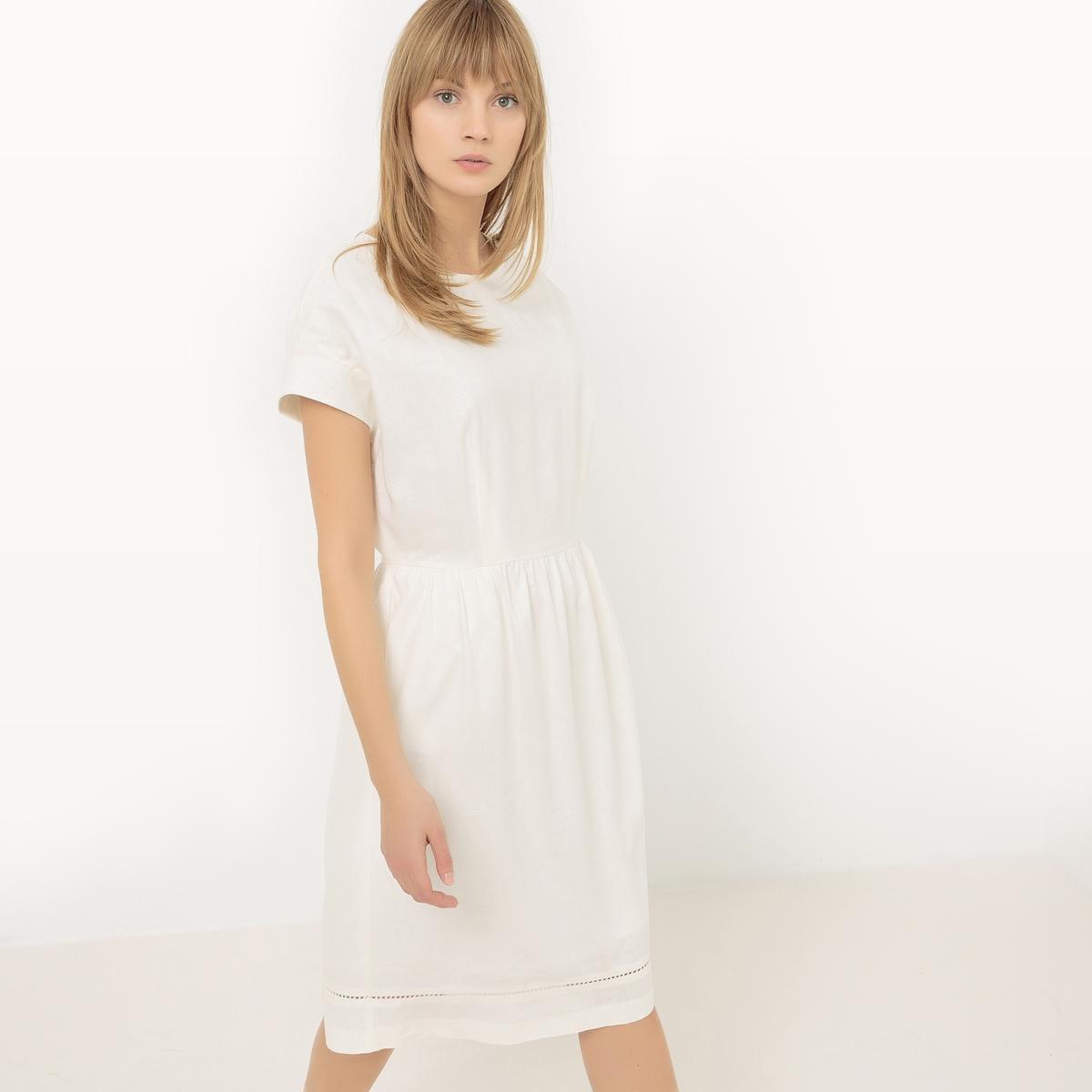 Платье присборенное на поясе, из льна платье 100% льна
