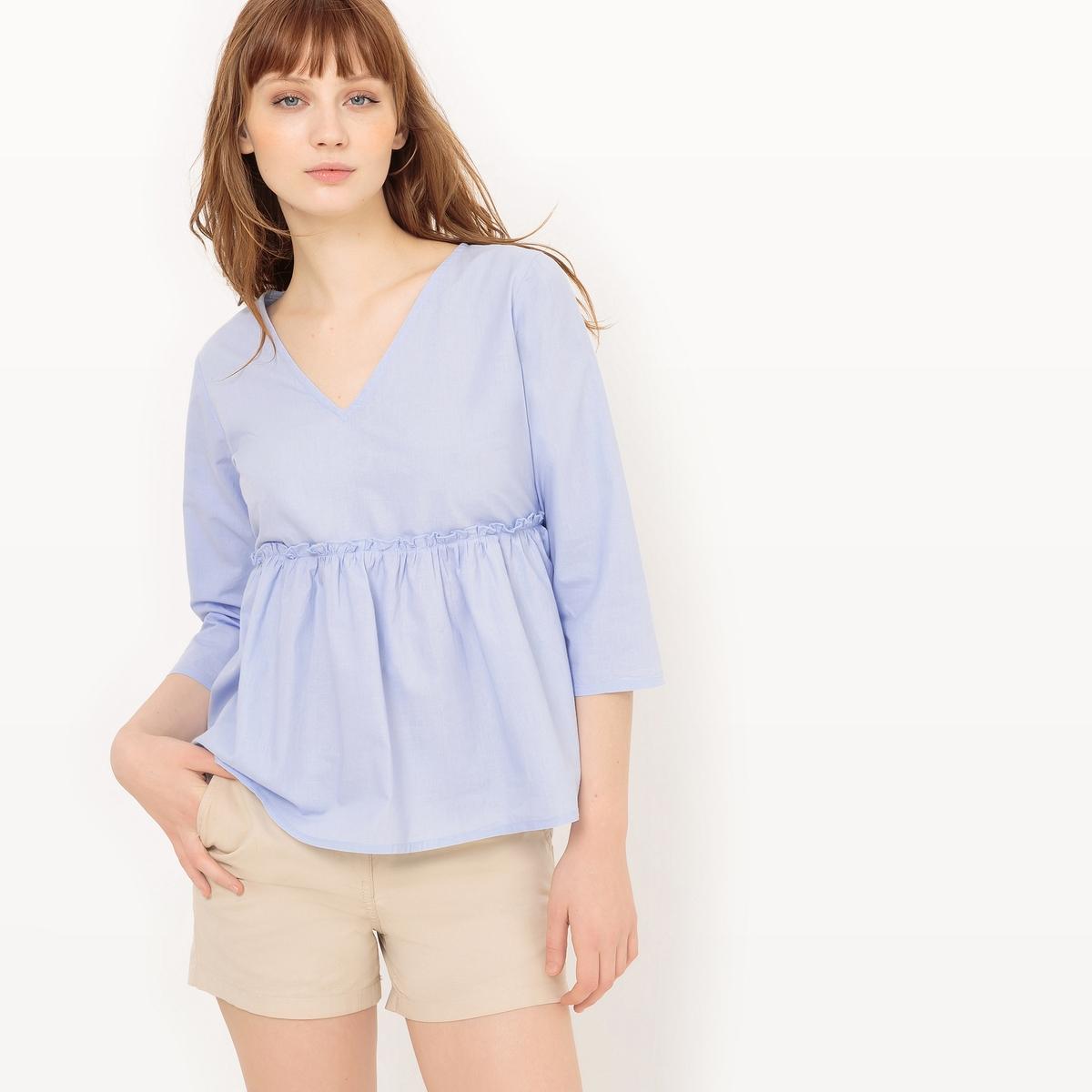 Блузка расширяющегося к низу покроя с короткими рукавами из хлопка