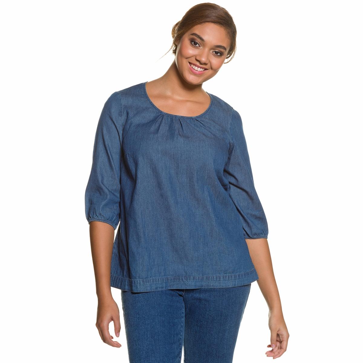БлузкаМягкая блузка из денима ULLA POPKEN. Свободный круглый вырез, низ с кулиской и рукава 3/4 с краями на резинке. 100% хлопок. Длина в зависимости от размера. 68-78 см<br><br>Цвет: синий джинсовый<br>Размер: 48/50 (FR) - 54/56 (RUS)