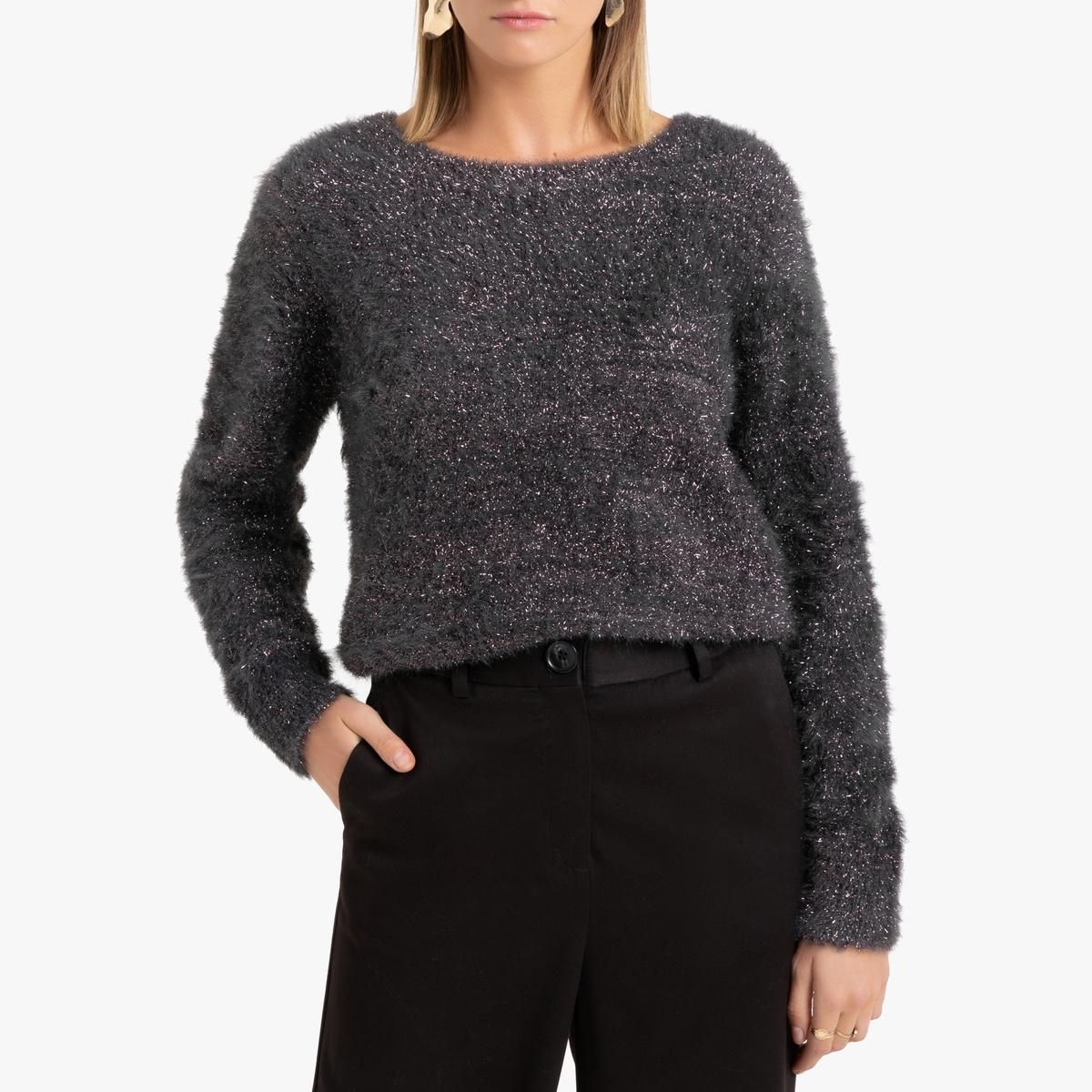 Пуловер La Redoute С круглым вырезом из блестящего трикотажа S серый пуловер la redoute с круглым вырезом из шерсти мериноса pascal 3xl черный