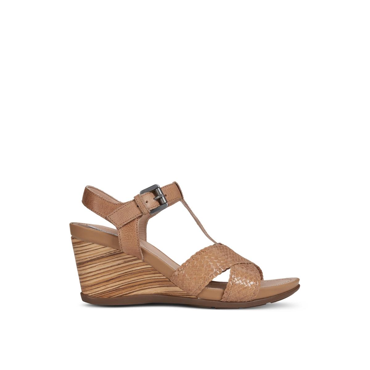 Sandalias con tacón de cuña, transpirables, de piel, Dorotha