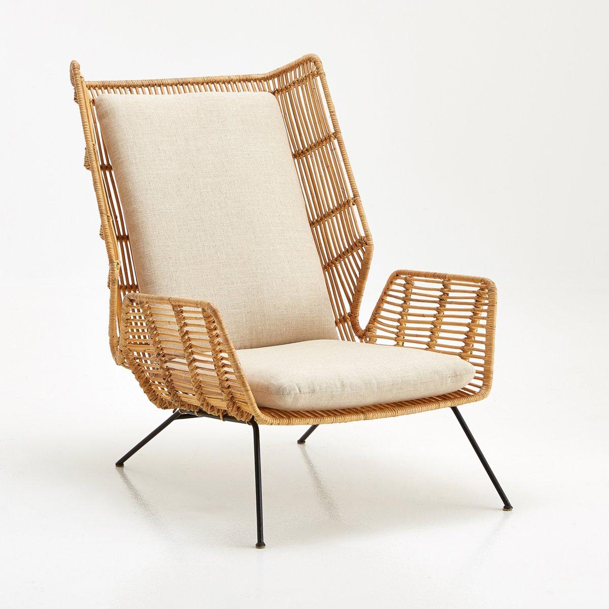 Кресло LaRedoute Malu единый размер бежевый скамья laredoute из ротанга malu единый размер бежевый