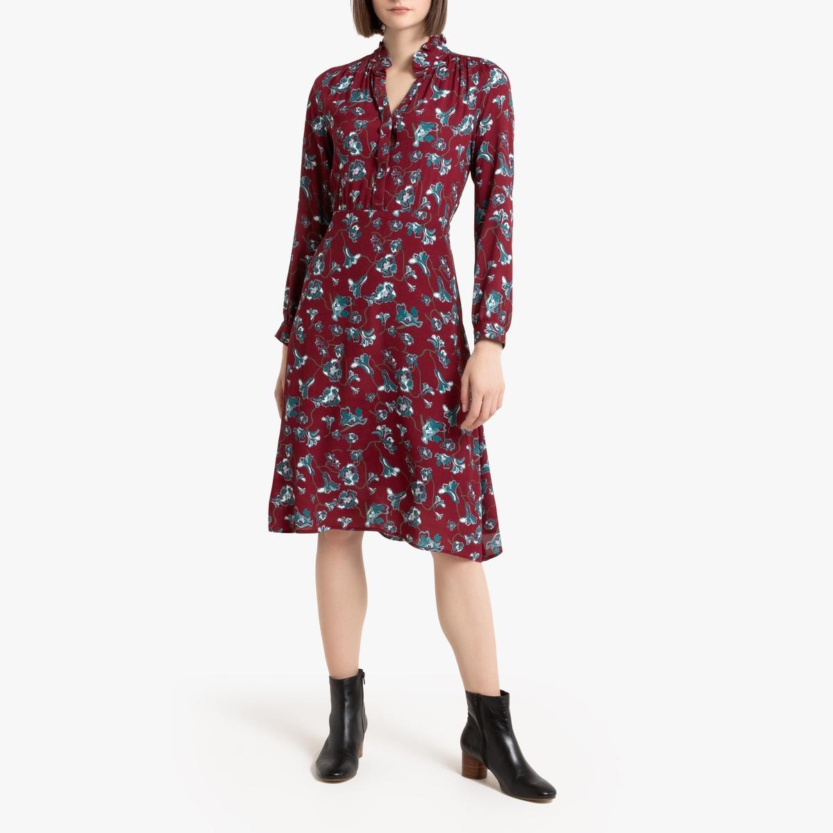Платье La Redoute С цветочным рисунком длинными рукавами и круглым вырезом 0(XS) красный блузка la redoute с круглым вырезом цветочным рисунком и длинными рукавами s черный