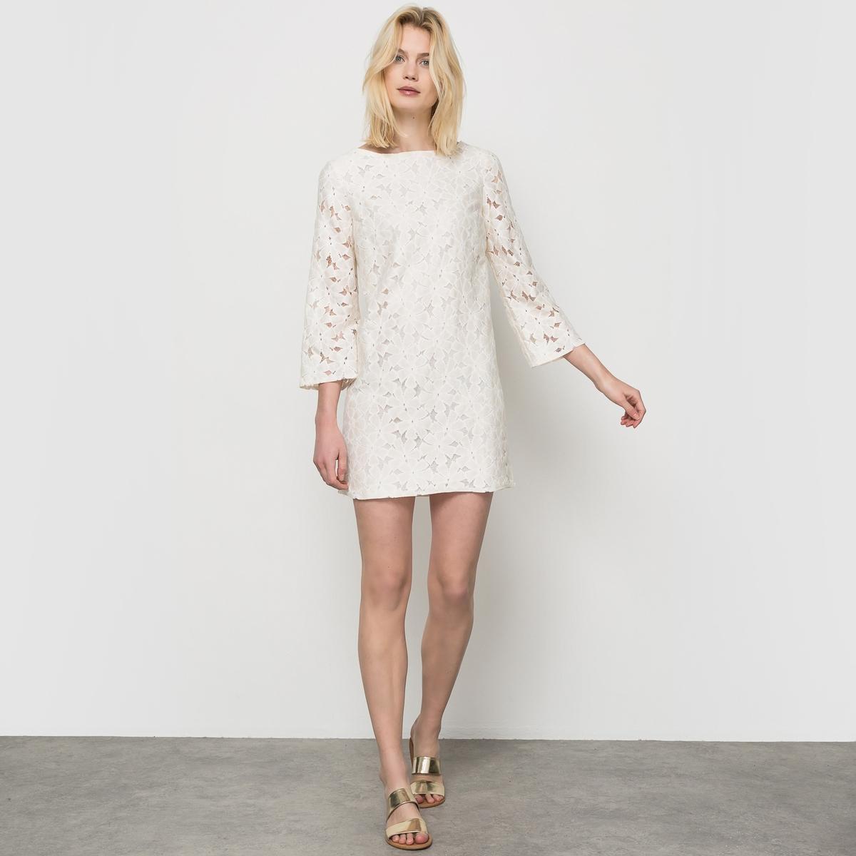 Платье из кружева с рукавами 3/4Этим летом кружево правит балом!<br><br>Цвет: слоновая кость<br>Размер: 38 (FR) - 44 (RUS)
