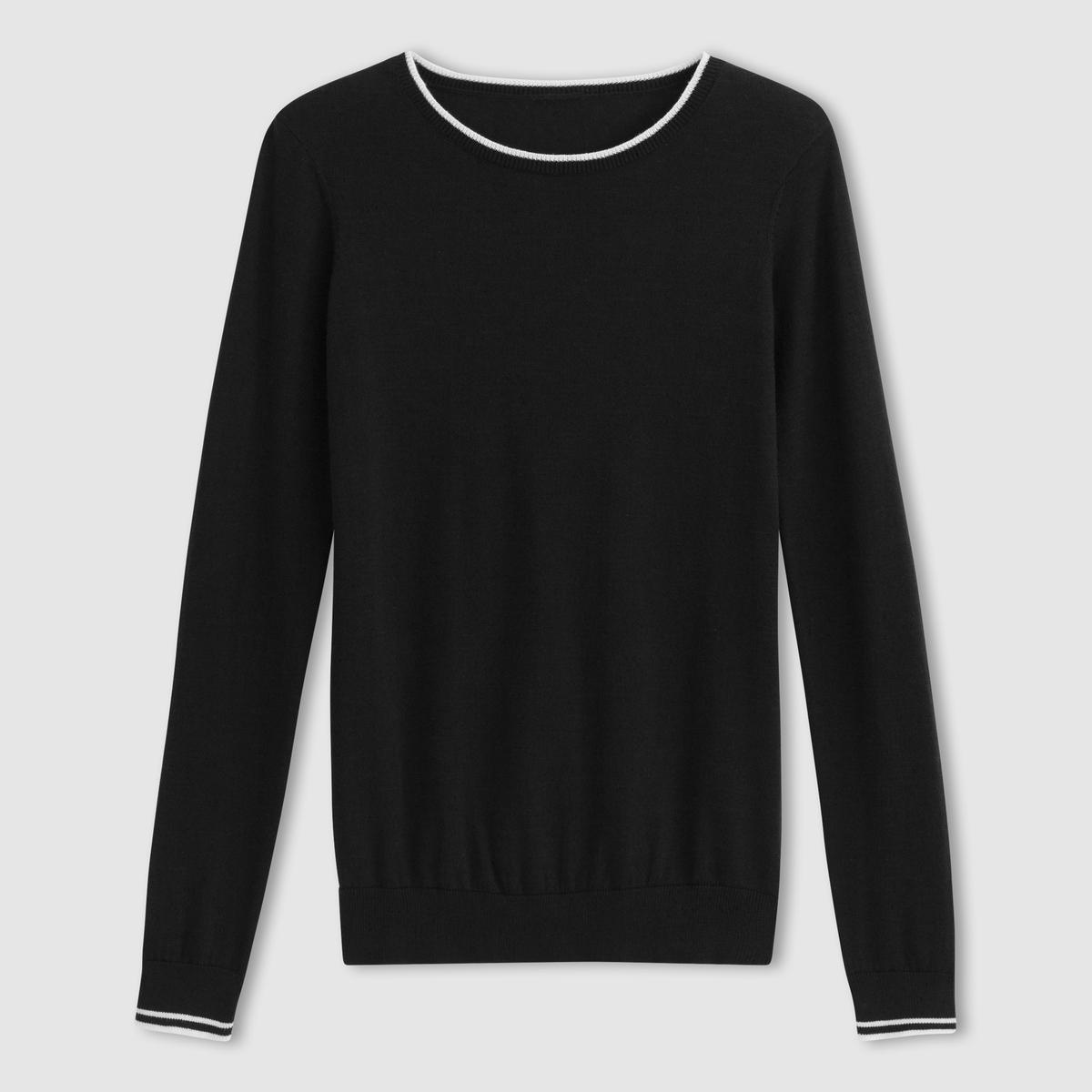 Пуловер, 100% хлопка с круглым вырезомПуловер . 100% хлопка . Длинные рукава . Круглый вырез . Контрастная отделка воротника и манжет . Длина 64  см .<br><br>Цвет: черный