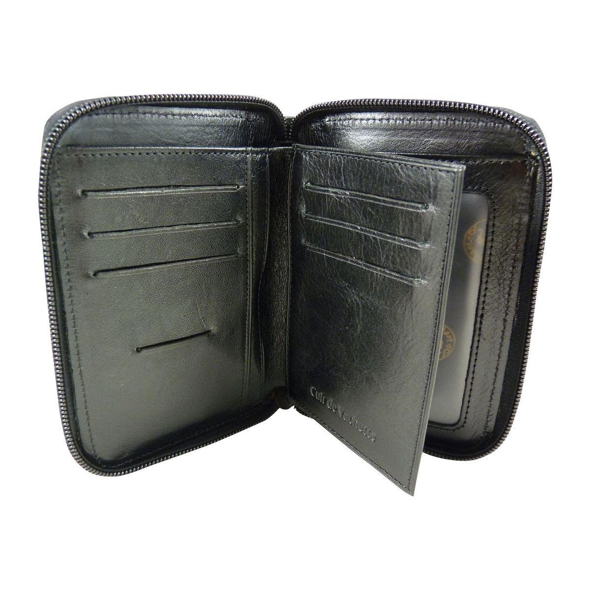 Portefeuille compact Zippé àFermeture éclair tout autour en Cuir
