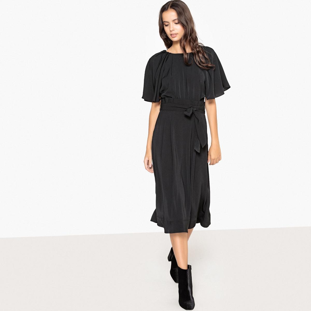 Платье La Redoute Расклешенное с рукавами-бабочками и поясом 34 (FR) - 40 (RUS) черный