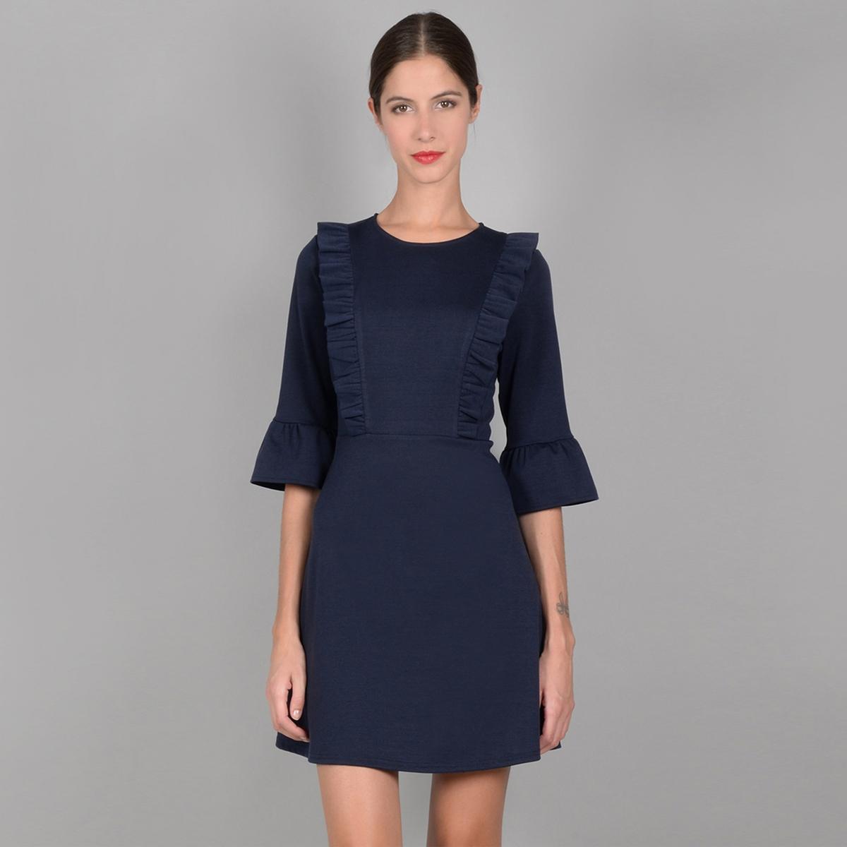 Платье короткое с воланами и рукавами 3/4 платье с рукавами 3 4 roncier