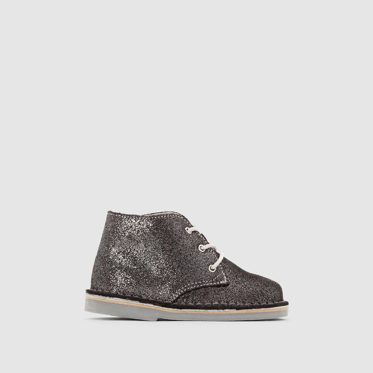 Ботинки на шнуровке, из кожи, с блестками