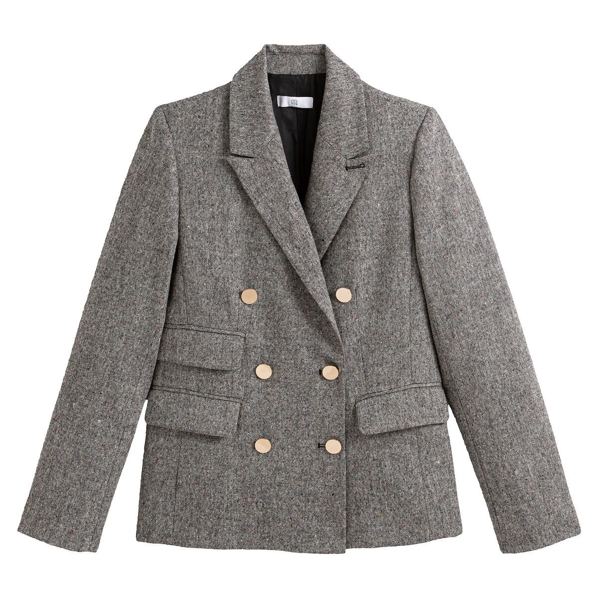 Blazer com duas filas de botões, em tweed suave