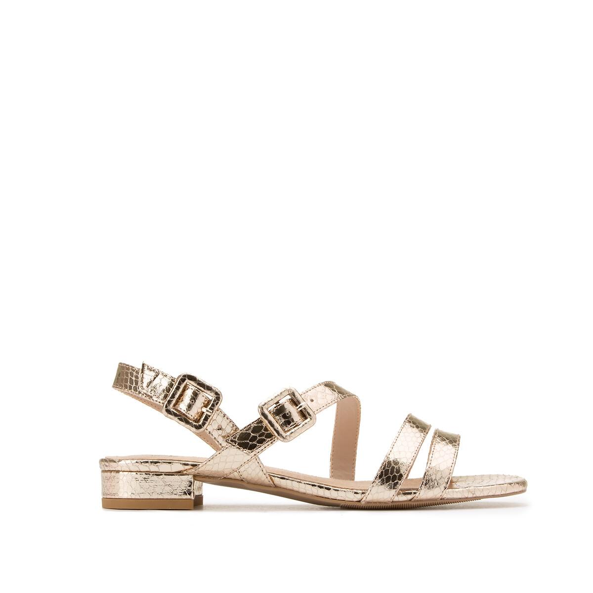 Sandalias doradas efecto pitón