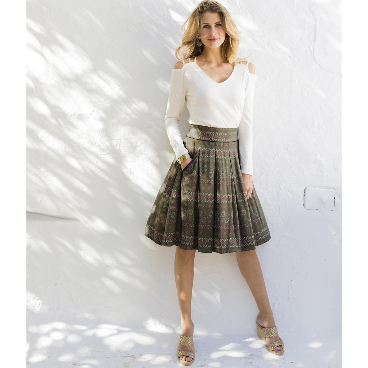 Imagen secundaria de producto de Falda estampada evasé, de tejido vaporoso - Anne weyburn