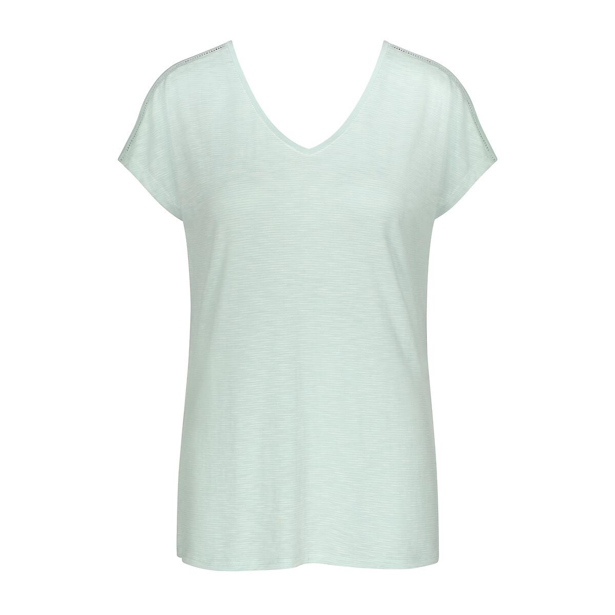 Фото - Рубашка LaRedoute Ночная с короткими рукавами 42 (FR) - 48 (RUS) зеленый рубашка la redoute ночная на тонких бретелях с кружевными вставками 48 fr 54 rus черный