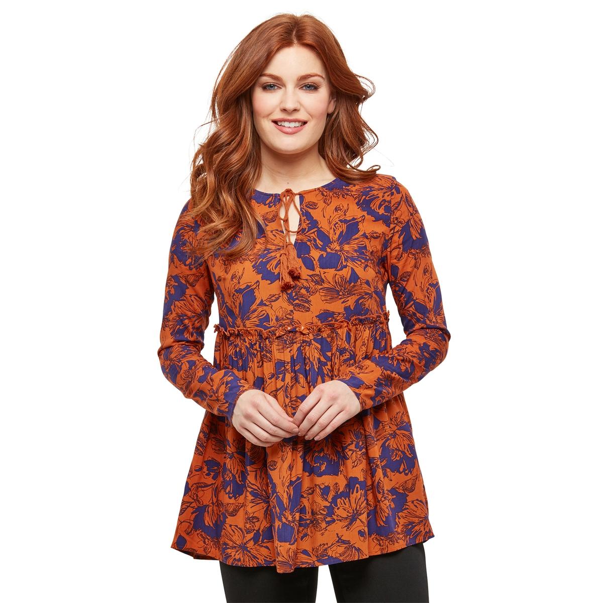 Блузка La Redoute С цветочным рисунком и круглым вырезом с завязками 38 (FR) - 44 (RUS) оранжевый