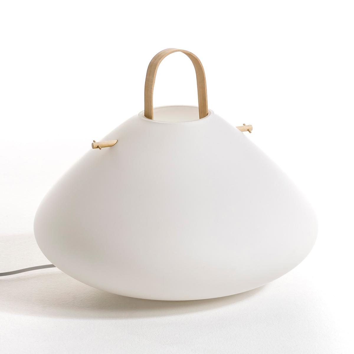 Лампа с подставкой ZelmaХарактеристики : - Из матового стекла. - Ручка из бамбука.- Патрон E27 для флюокомпактной лампочки макс.15W (не входит в комплект)-  Этот светильник совместим с лампочками    энергетического класса   A-B-C-D-E Размеры :- ? макс. 40 x Выс 35 см<br><br>Цвет: белый