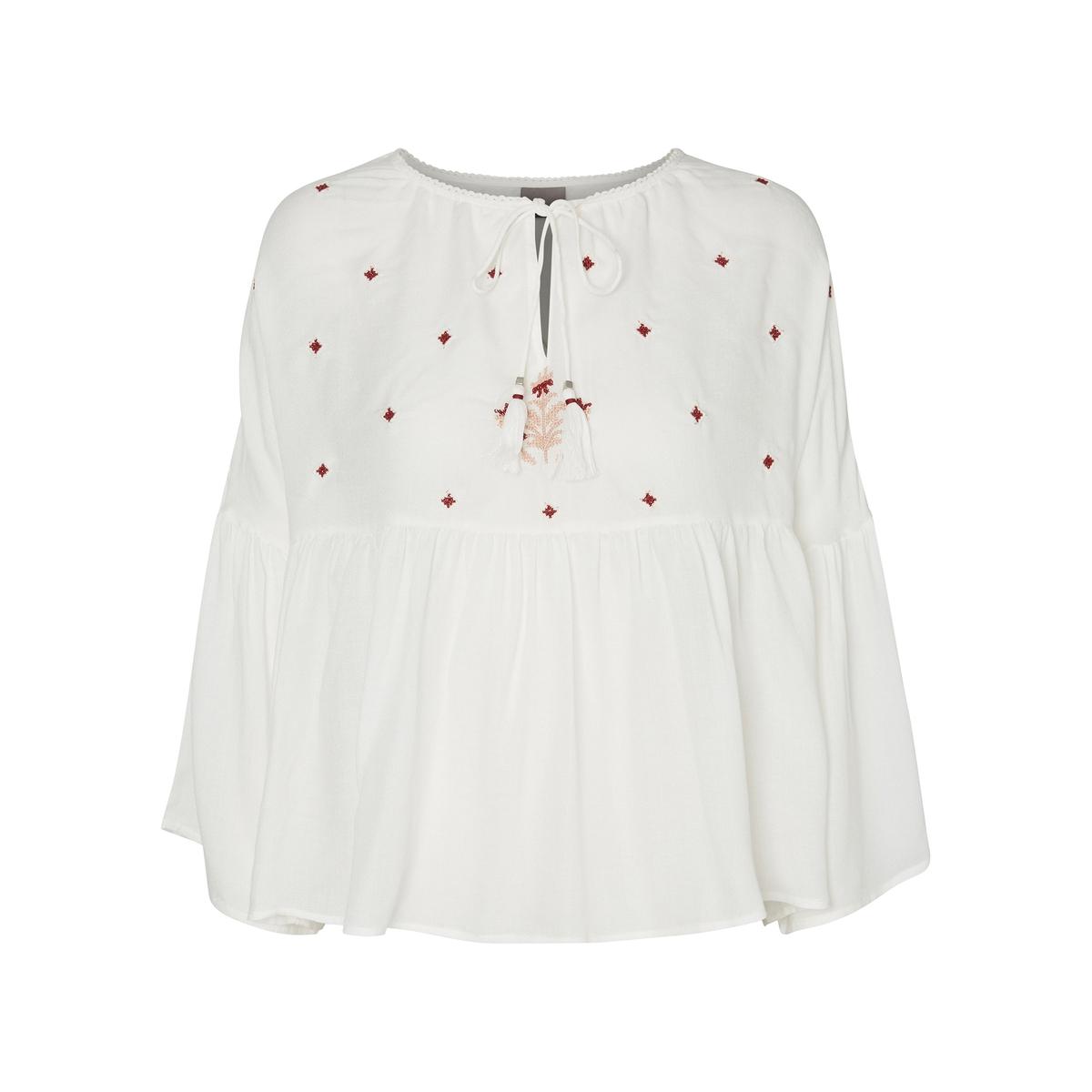 Блузка однотонная с круглым вырезом и длинными рукавами