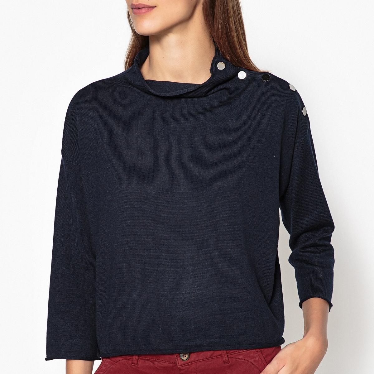 Пуловер MAJIKAПуловер HARRIS WILSON - модель MAJIKAДетали •  Пуловер короткий •  Рукава 3/4 •  Воротник-стойка •  Тонкий трикотаж Состав и уход •  38% вискозы, 47% шерсти, 5% кашемира, 10% полиамида •  Следуйте советам по уходу, указанным на этикетке<br><br>Цвет: темно-синий