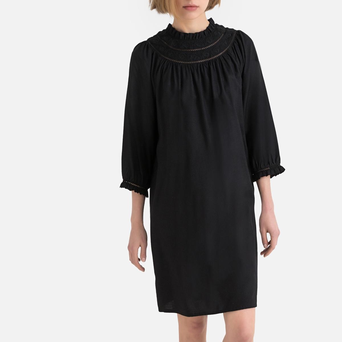 Платье La Redoute Расклешенное с длинными рукавами 34 (FR) - 40 (RUS) черный платье свитшот la redoute с воротником стойкой и застежкой на молнию сзади 34 fr 40 rus серый