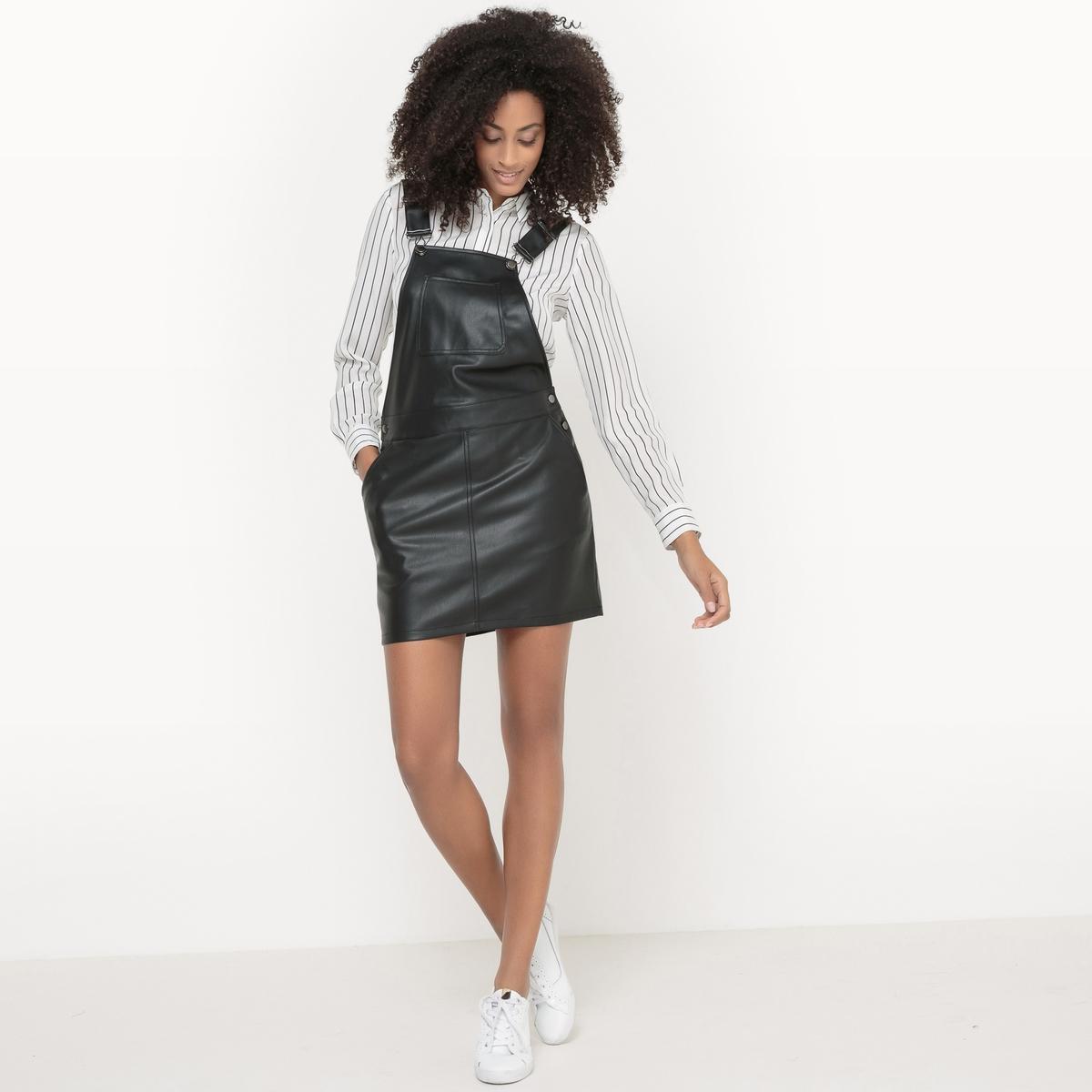 Платье-комбинезон VIPUNE DRESSПлатье VIPUNE DRESS от VILA. Платье-комбинезон . С имитацией кожи . Застежки на пуговицы по бокам . Нагрудный карман. Регулируемые и перекрещенные сзади  бретели. Состав и описание :Материал : 100% полиуретан.Марка : VILA.<br><br>Цвет: черный<br>Размер: L
