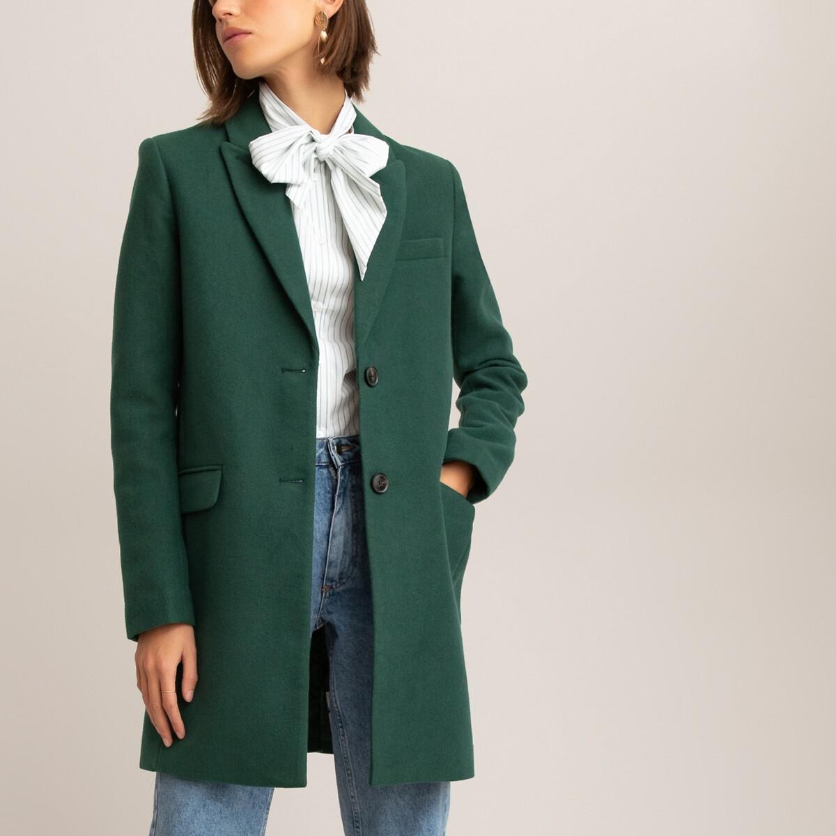 Пальто LaRedoute La Redoute 46 (FR) - 52 (RUS) зеленый брюки скинни la redoute эффект карго длина 30 38 fr 44 rus зеленый