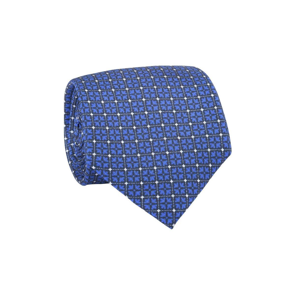 Cravate homme fleurs carrées Bleu marine / Bleu royal
