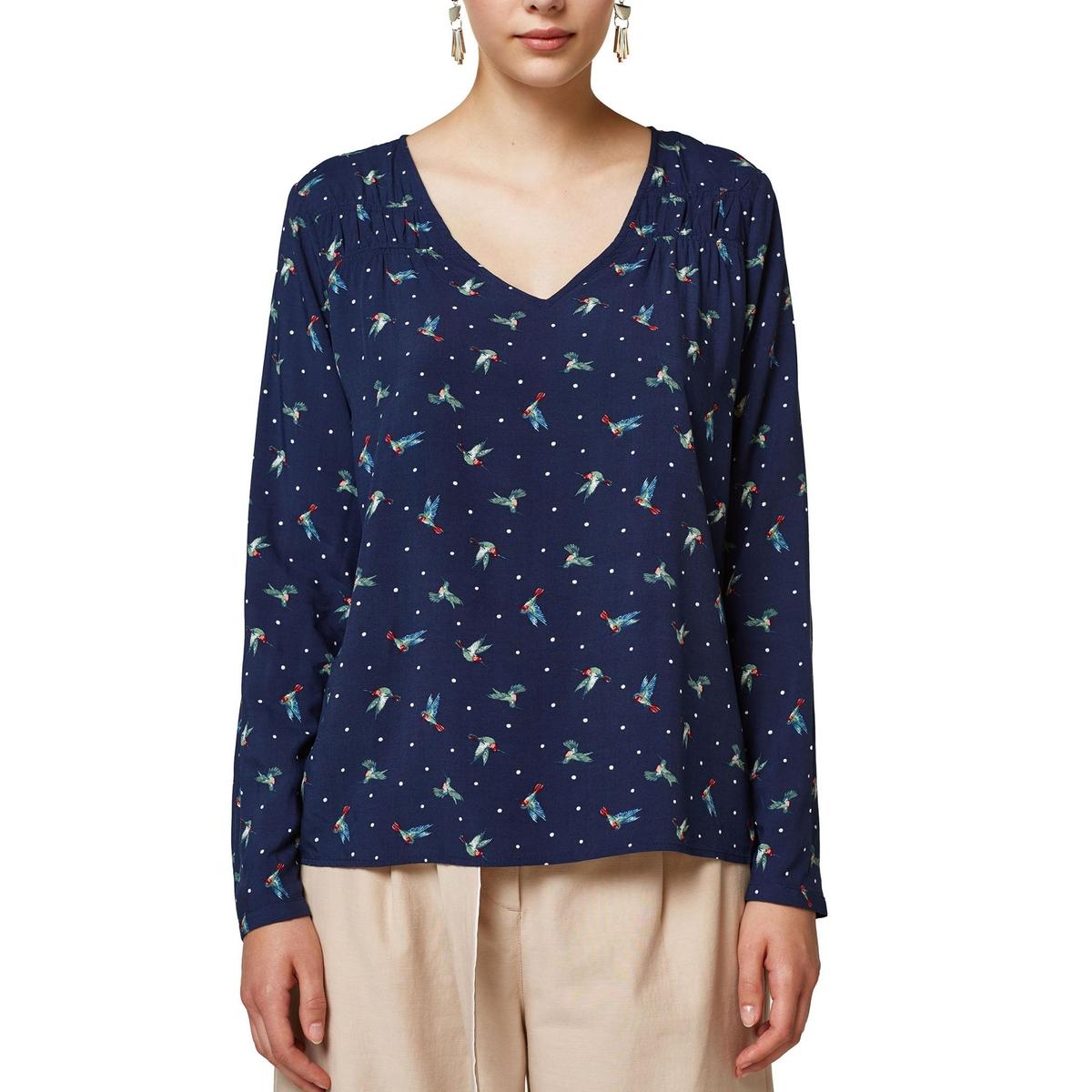Blusa con cuello de pico estampado gráfico, manga larga