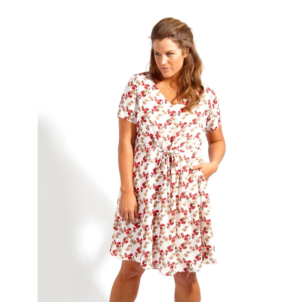 ПлатьеПлатье - KOKO BY KOKO. Красивое платье с V-образным декольте, завязками на поясе и карманами  . 100% полиэстер<br><br>Цвет: набивной рисунок