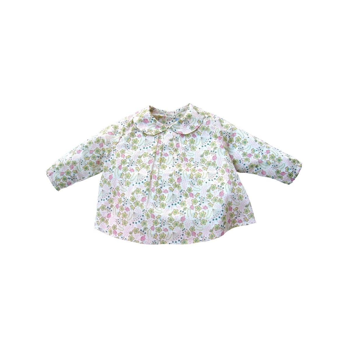 Corsage coton Liberty imprimé fleuri rose et vert pour bébé