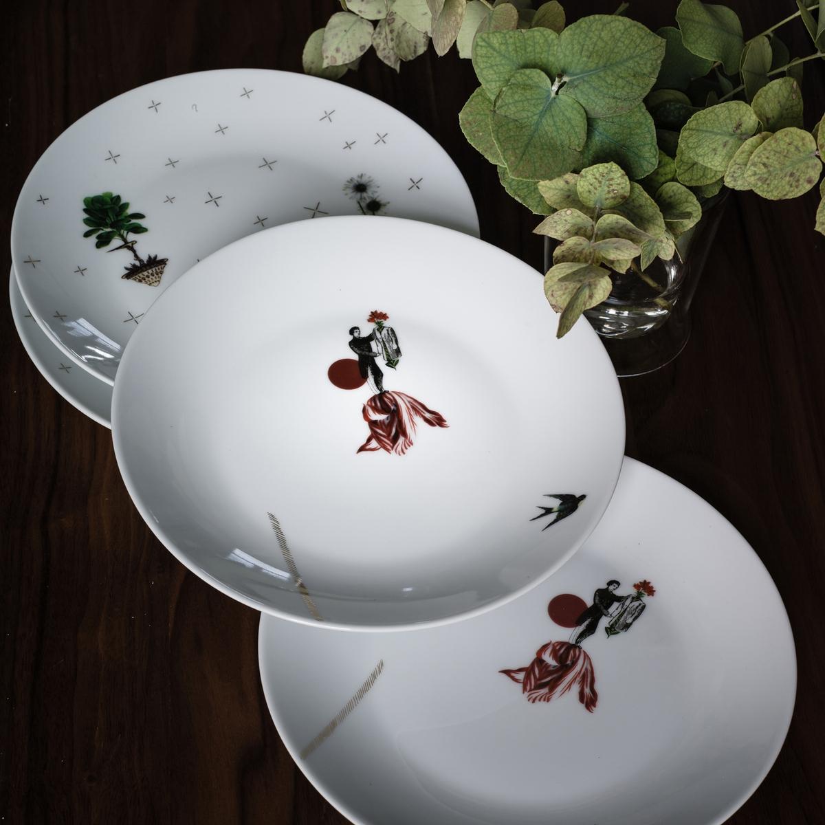 Комплект из 4 десертных тарелок, SAM BARON