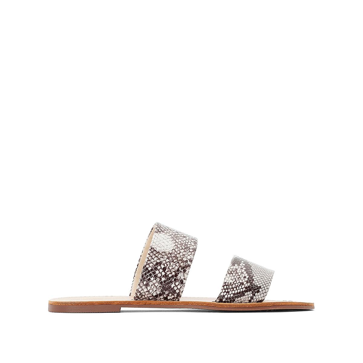 Туфли La Redoute Без задника с рисунком под кожу питона на плоском каблуке 36 каштановый туфли la redoute на среднем каблуке с питоновым принтом 36 каштановый