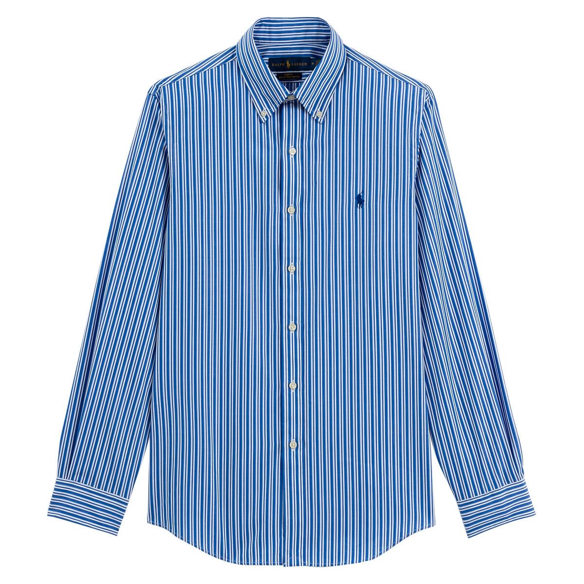 Рубашка La Redoute Слим из поплина стретч в полоску S синий рубашка la redoute джинсовая узкая jjesheridan s синий