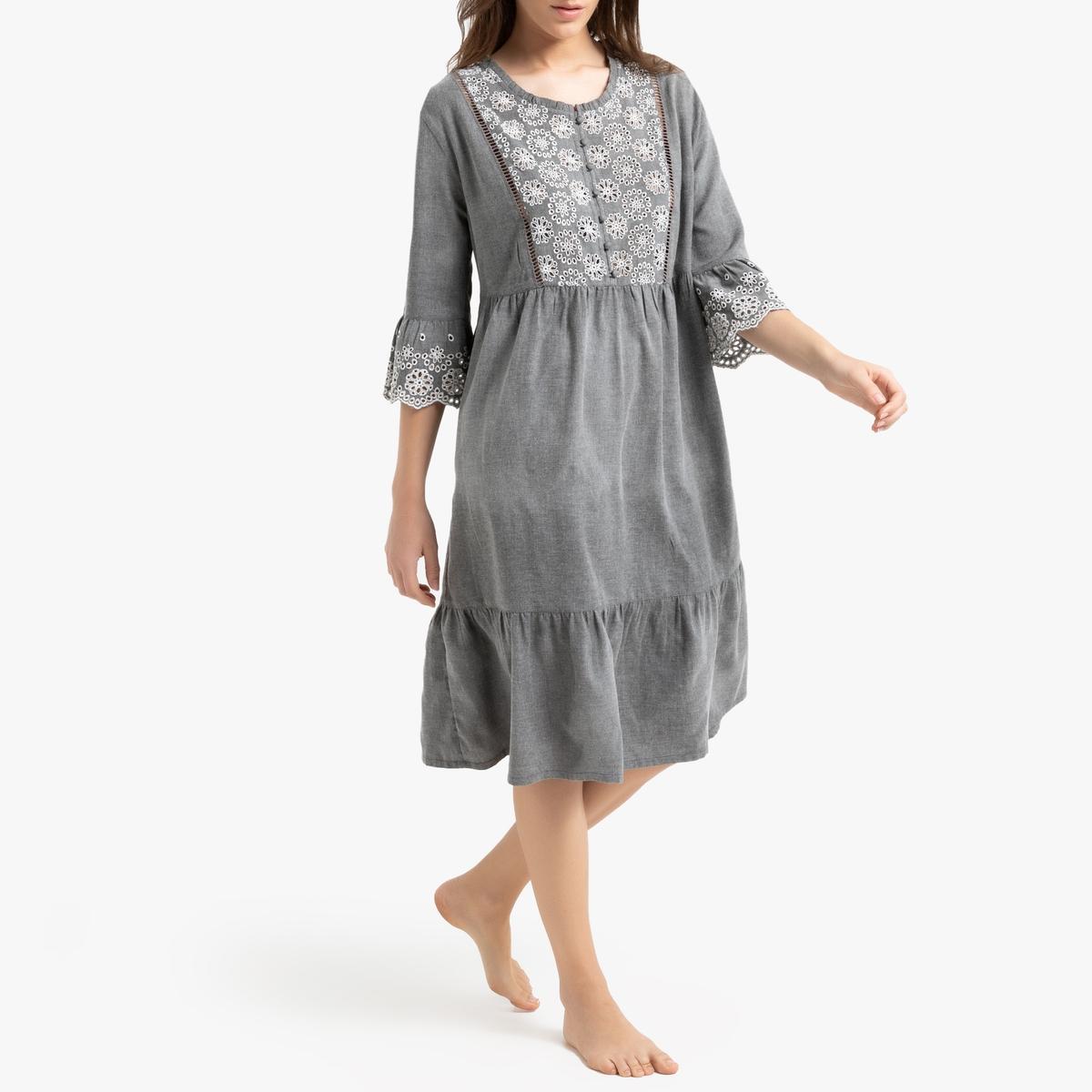 Camisa de dormir com bordado inglês