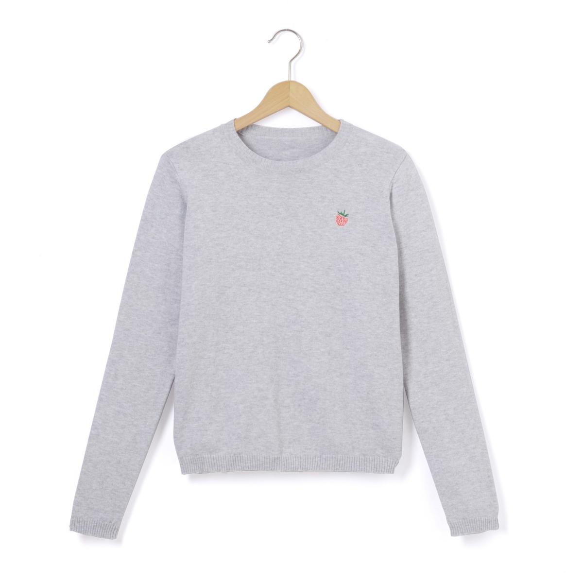 Пуловер укороченный с вышивкой на груди, 10-16 лет