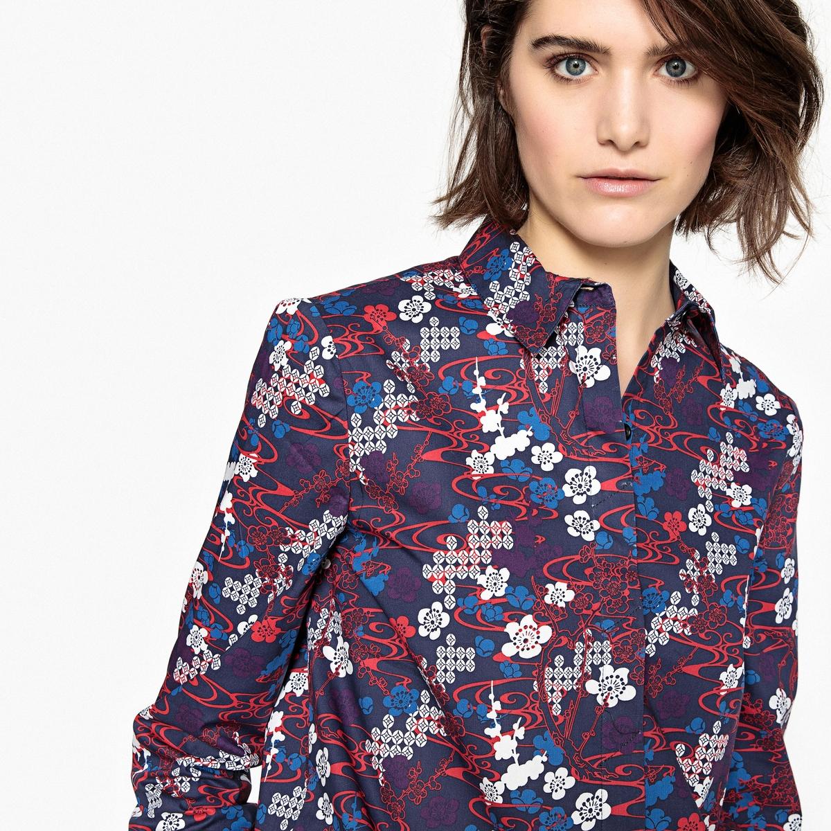 Блузка с цветочным рисунком и скрытой планкой застежки на пуговицы