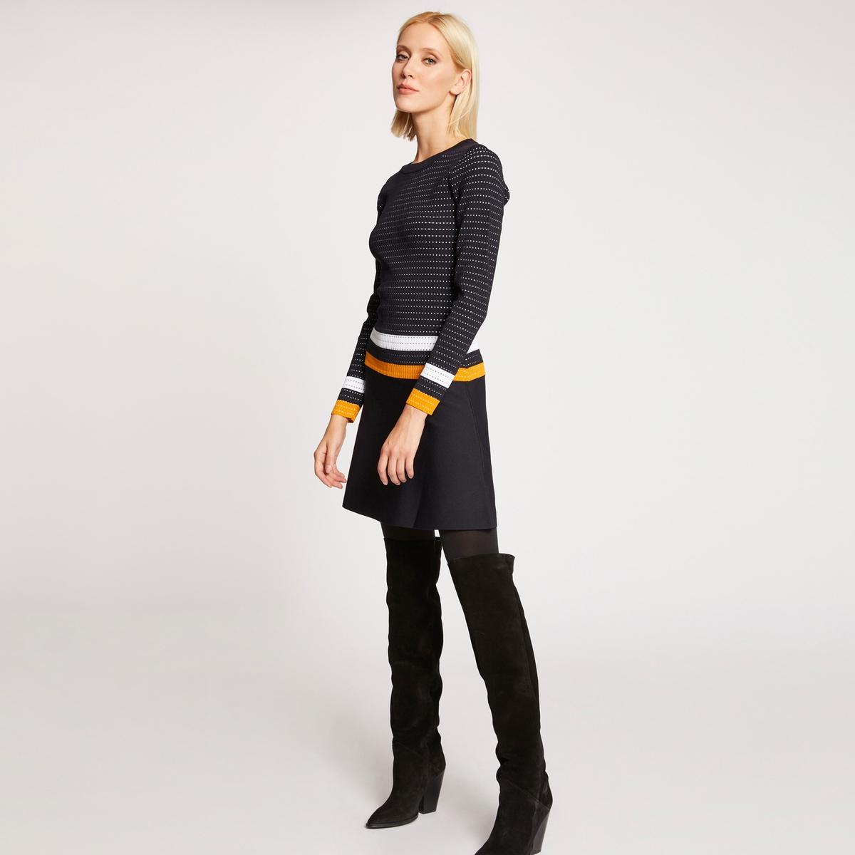 цена Платье La Redoute Короткое расклешенное с длинными рукавами M синий онлайн в 2017 году