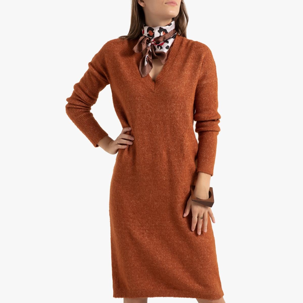 цена Платье-пуловер La Redoute С V-образным вырезом и длинными рукавами M каштановый онлайн в 2017 году