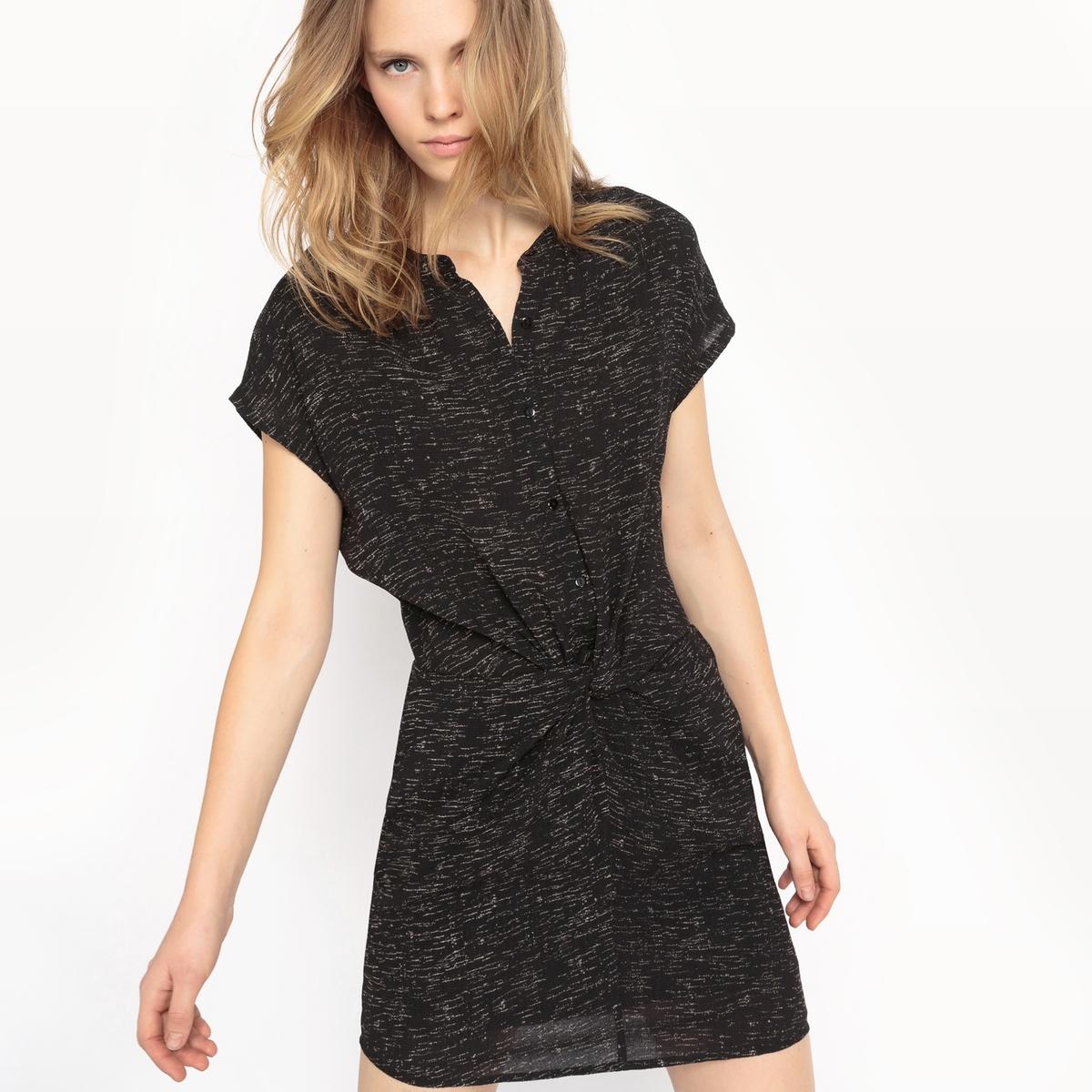 Платье с короткими рукавами и завязками спередиДетали  •  Форма : мини •  Укороченная модель •  Короткие рукава    •  Круглый вырез с разрезомСостав и уход  •  75% хлопка, 5% эластана, 20% полиамида •  Следуйте рекомендациям по уходу, указанным на этикетке изделия<br><br>Цвет: черный меланж