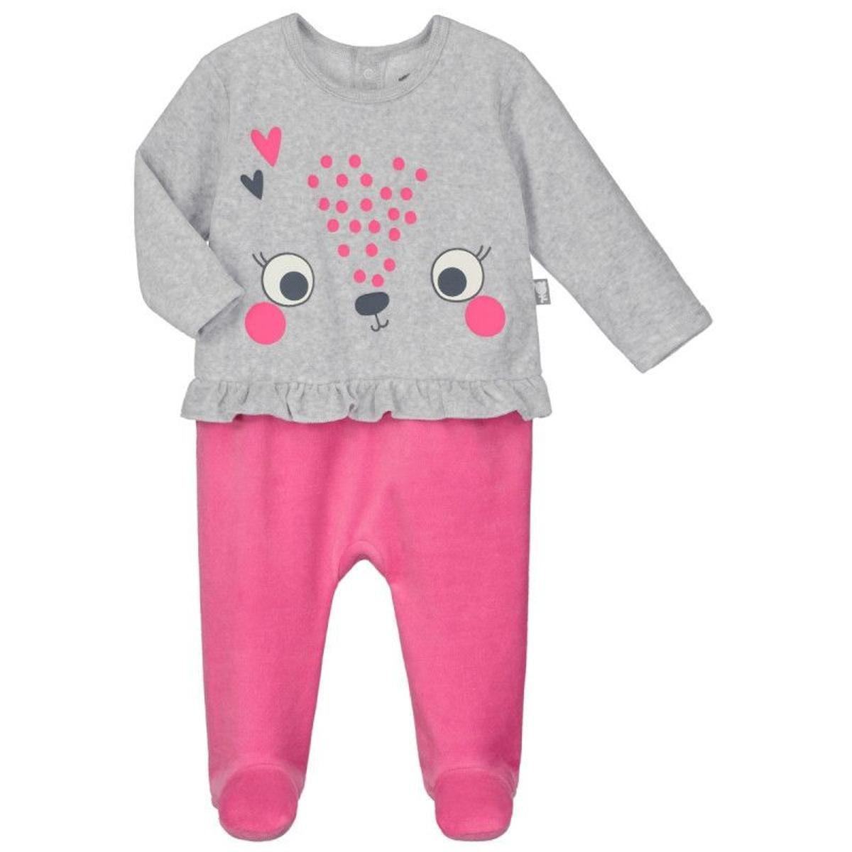 Pyjama bébé velours effet 2 pièces Petite Reine