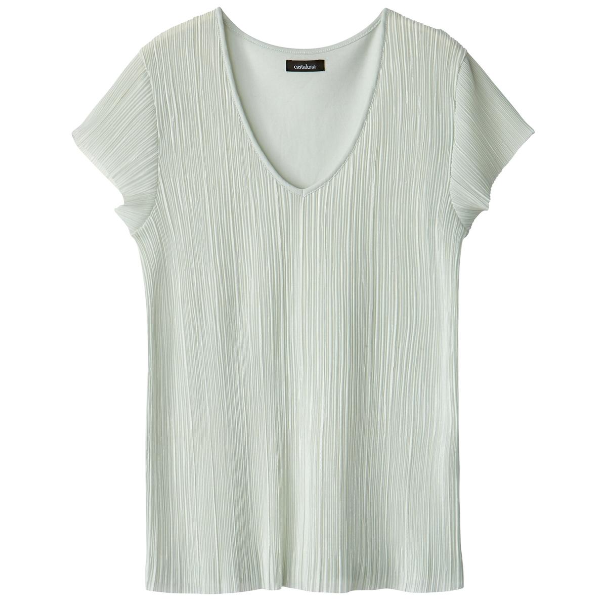 T-shirt plissada bimatéria, mangas curtas